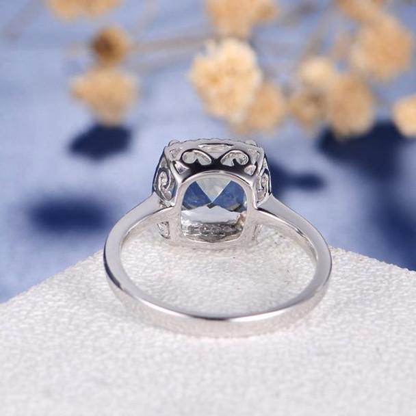 8mm Cushion Cut  Aquamarine Multistone Plain Band  Engagement Ring