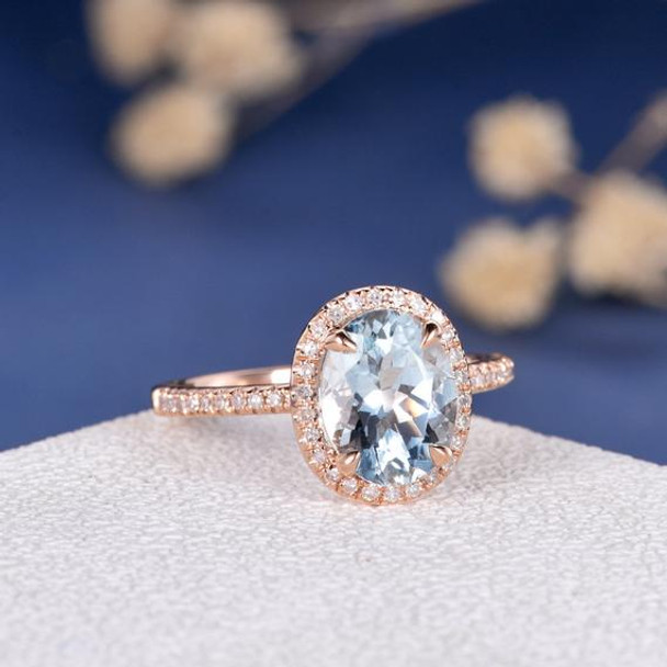7*9mm Oval Cut Aquamarine Diamond Halo Engagement Ring