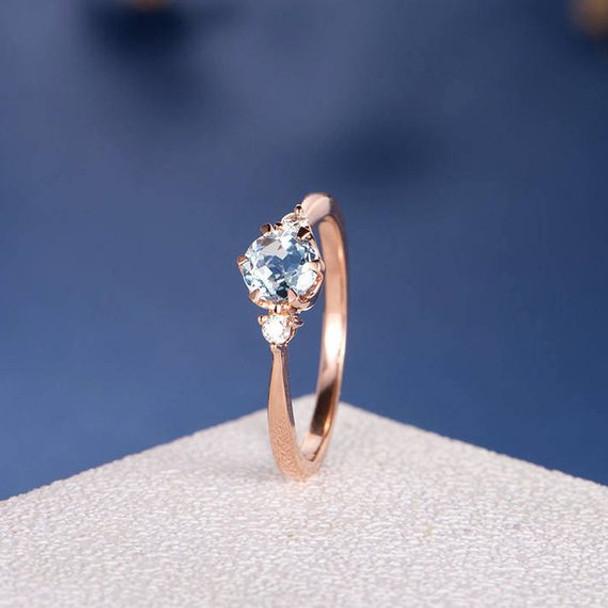 5mm Aquamarine Three Stone Unique Retro Promise Ring
