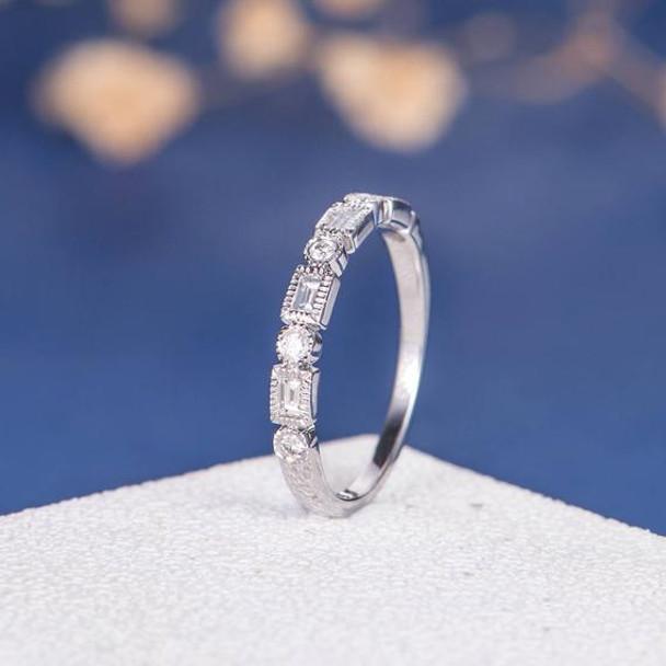 Art Deco Antique Baguette Half Eternity Diamond Wedding Ring