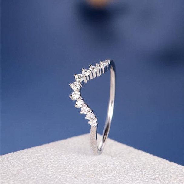 White Gold Diamond Stacking Half Halo Curved  Promise Ring