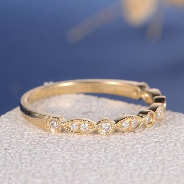 Yellow Gold Half Eternity Diamond Wedding Band