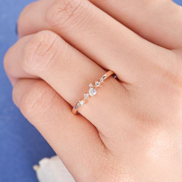 Rose Gold Diamond Cluster Ring Twig Tiny Snowflake Anniversary Ring