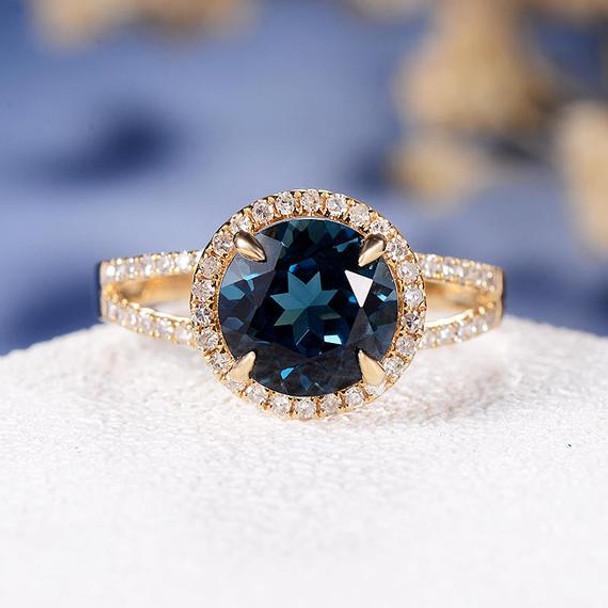 8mm Round Cut London Blue Topaz Split Shank Diamond Pave Engagement Ring