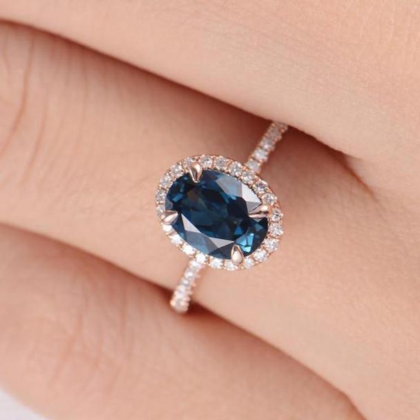 6*8mm Oval Cut London Blue Topaz Diamond Halo Engagement Ring
