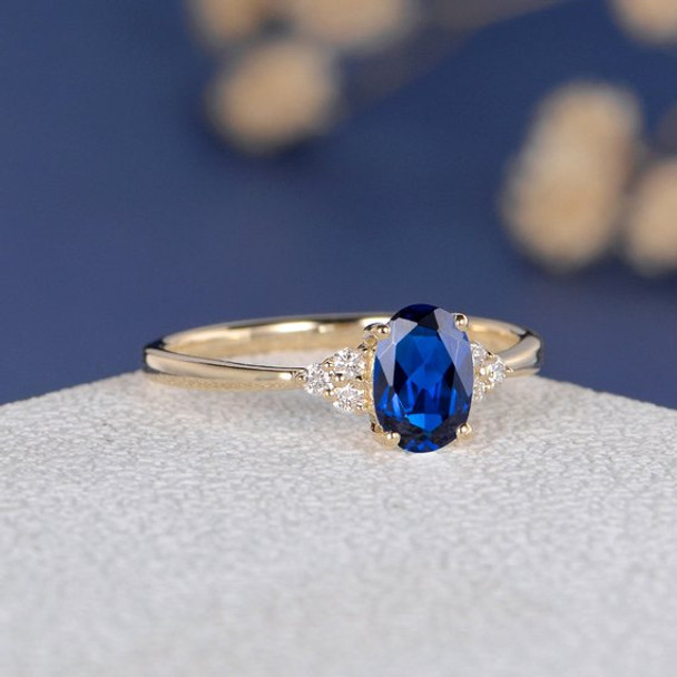 Yellow Gold 5*7mm Oval Lab Sapphire Diamond Cluster Engagement Ring