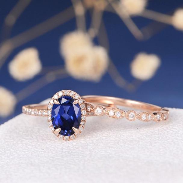 6*8mm Oval Lab Sapphire Art Deco Wedding Band  Bridal Set