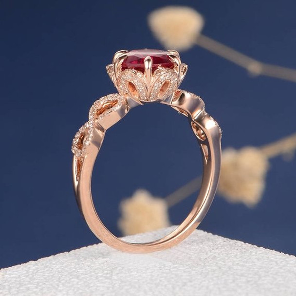 7mm Round Cut Lab Ruby Flower Art Deco Engagement Ring