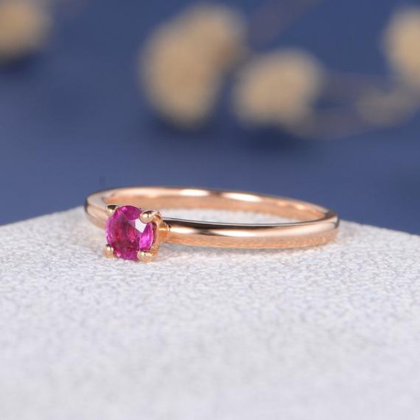 Round Cut Natural Ruby Antique Engraving Simple Anniversary Gift