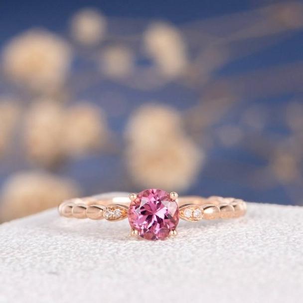 5mm Pink Tourmaline Unique Diamond Wedding Ring