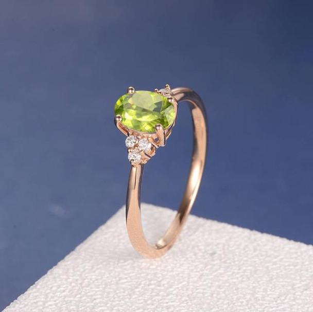 5*7mm Oval Cut Peridot Cluster  Diamond Engagement Ring