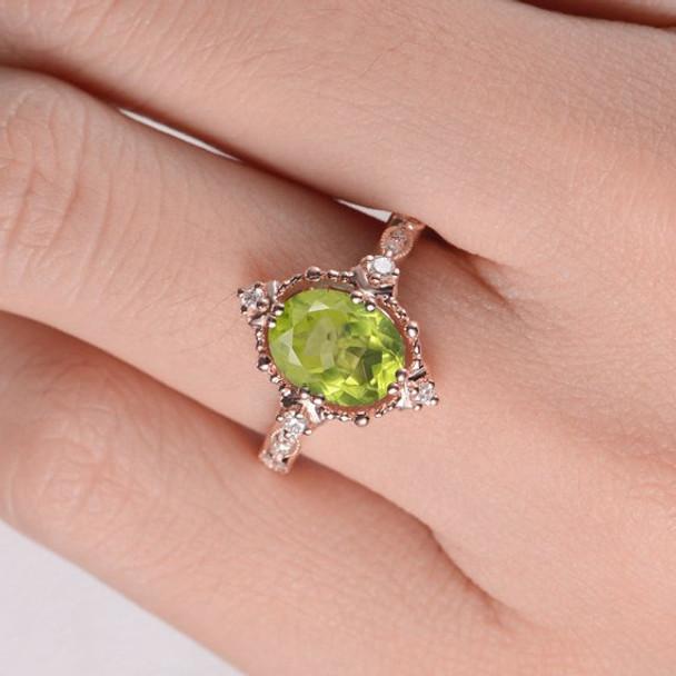 Peridot  Art Deco  Diamond Beaded Milgrain Unique  Engagement Ring
