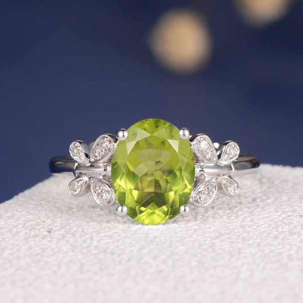 Peridot  Diamond Butterfly Antique Unique Flower Engagement Ring
