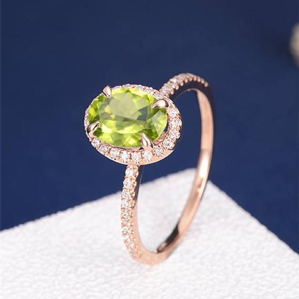 6*8mm Oval Cut Peridot Diamond Halo Engagement Ring