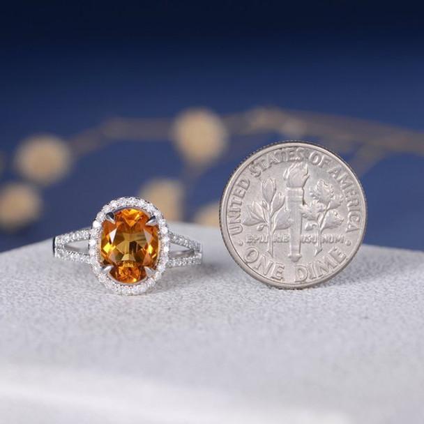 Oval Cut Citrine Halo Diamond Split Shank Half Eternity Wedding Ring