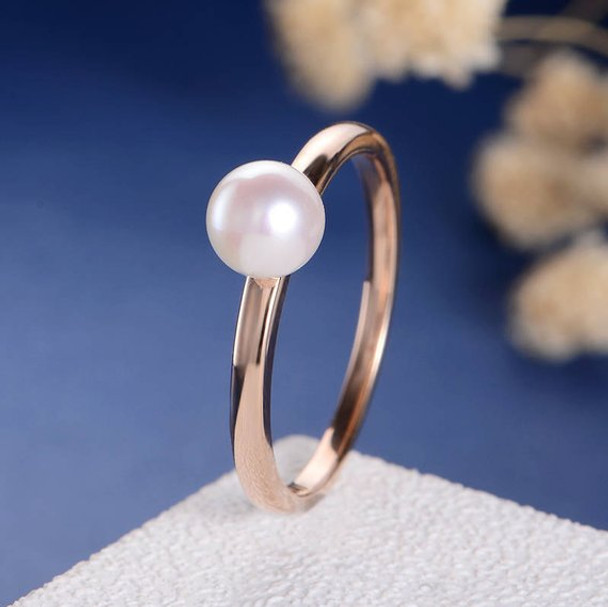 Solitaire Rose Gold Ring Akoya Pearl Engagement Ring