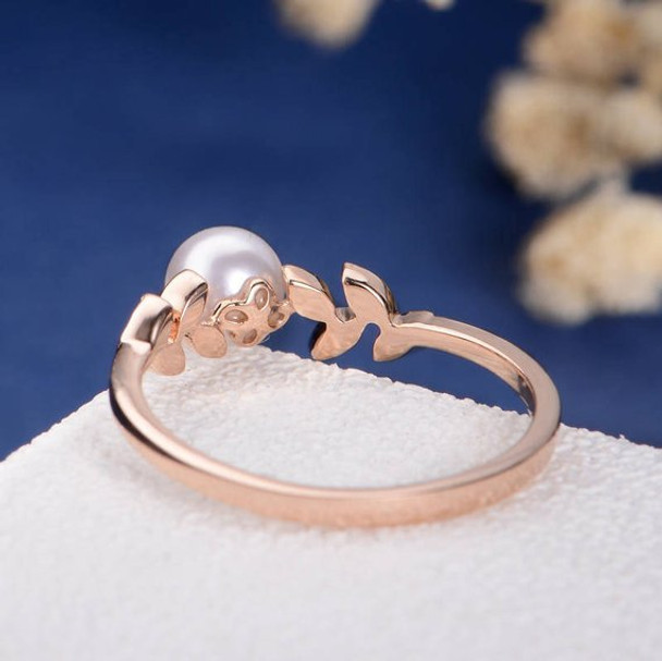 Pearl Rose Gold Engagement Ring Flower Unique Diamond Leave Vine