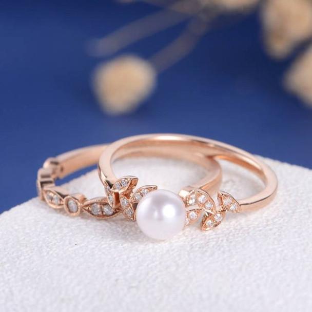 Pearl Diamond Leave Unique Vine Art Deco Engagement Ring Set