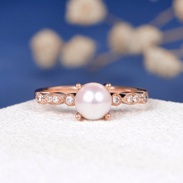 Pearl Engagement Ring Rose Gold Promise Antique Art Deco