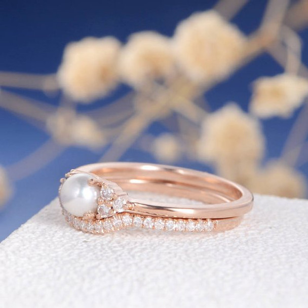 Pearl Engagement Ring Set Cluster Diamond Eternity Antique Art Deco