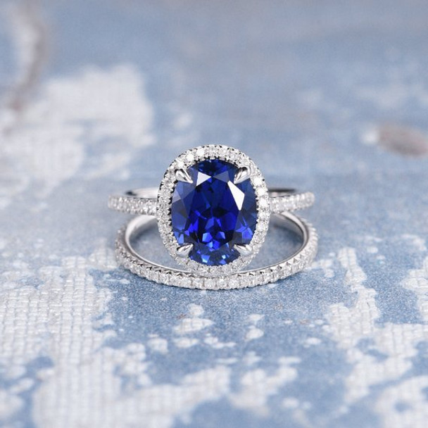 7*9mm Oval Lab Sapphire Diamond  Halo Claw Prongs Bridal Set