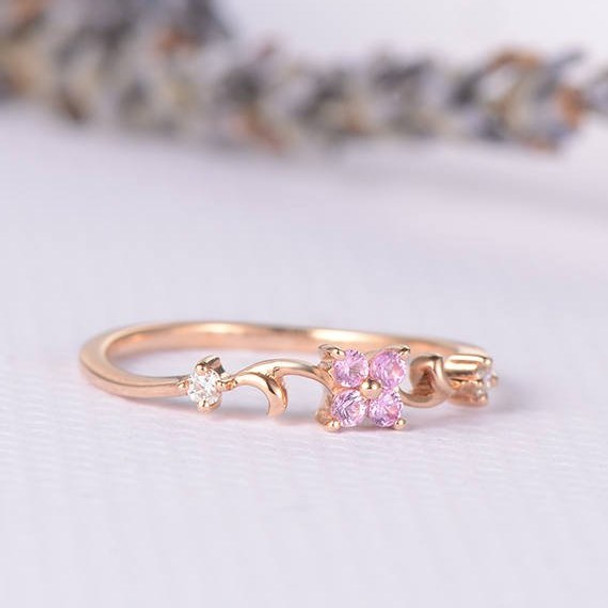 Pink Sapphire Flower Lucky Clover Vine Curved Half Eternity Engagement Ring