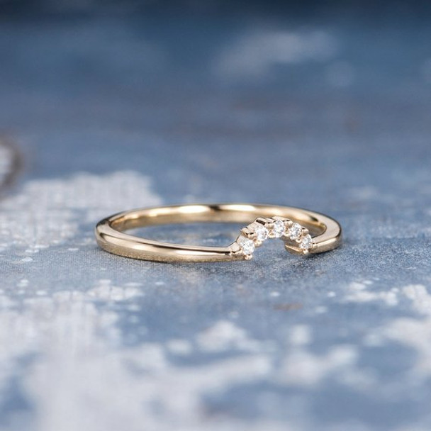 Enhancer Yellow Gold Unique Dainty Mini Diamond Wedding Band