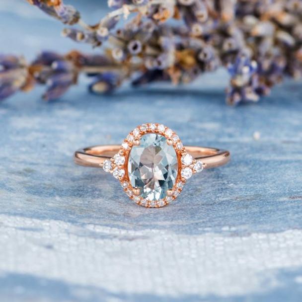 6*8mm Oval  Aquamarine Diamond Halo Unique Antique Engagement Ring