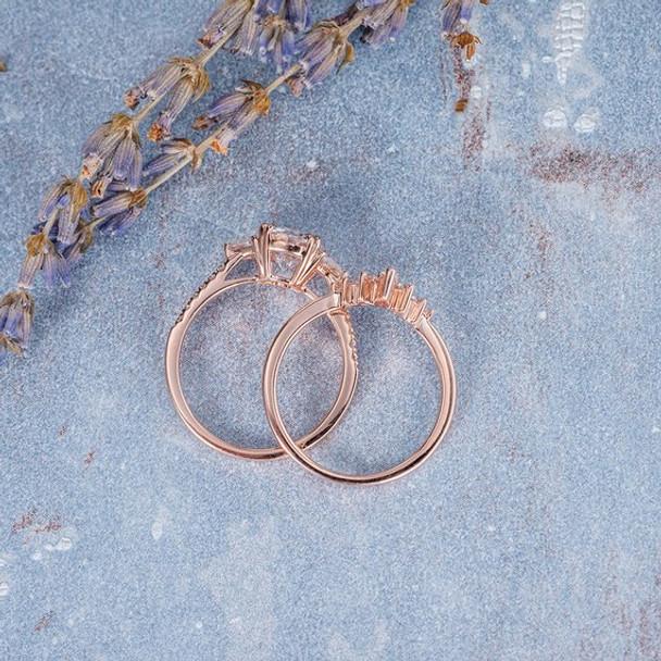 7mm Unique Moissanite Curved Wedding Band Bridal Set