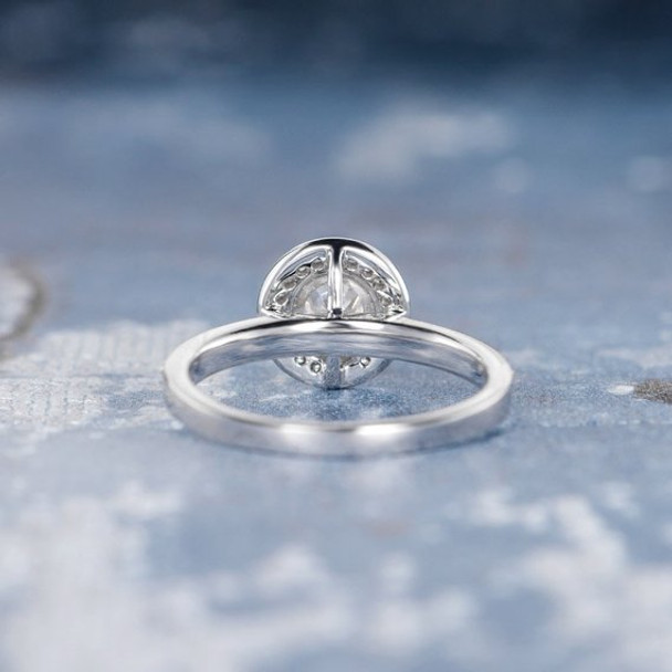 5mm Round Cut Moissanite Retro Unique  Engagement Ring