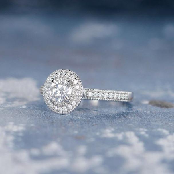 5mm Round Cut Moissanite Retro Unique  Engagement Ring