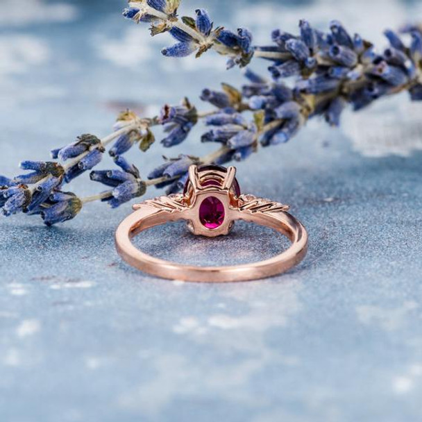 Solitaire Oval Cut Pink Tourmaline Wedding Bridal Ring