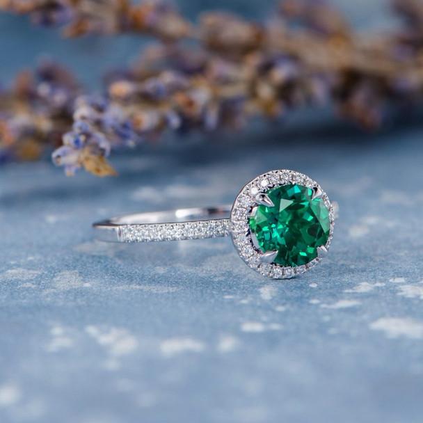 7mm Round Cut Lab Emerald White Gold Natural Diamond Classic Anniversary Ring