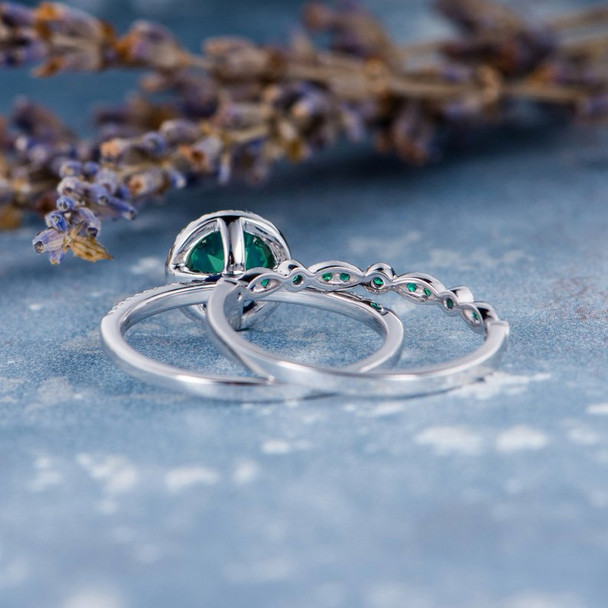 7mm Lab Emerald Bridal Set White Gold Engagement Ring
