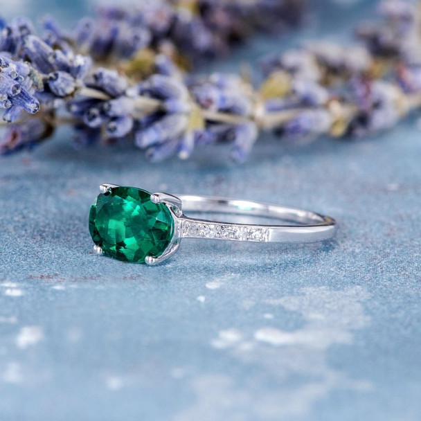 6*8mm Oval Cut Lab Emerald White Gold Solitaire  Anniversary Ring