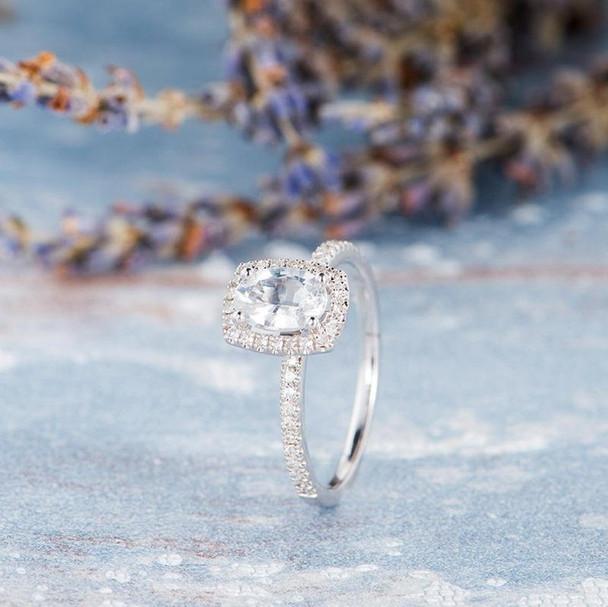 5*7mm Oval Cut White Sapphire Halo Diamond Flower Wedding Ring