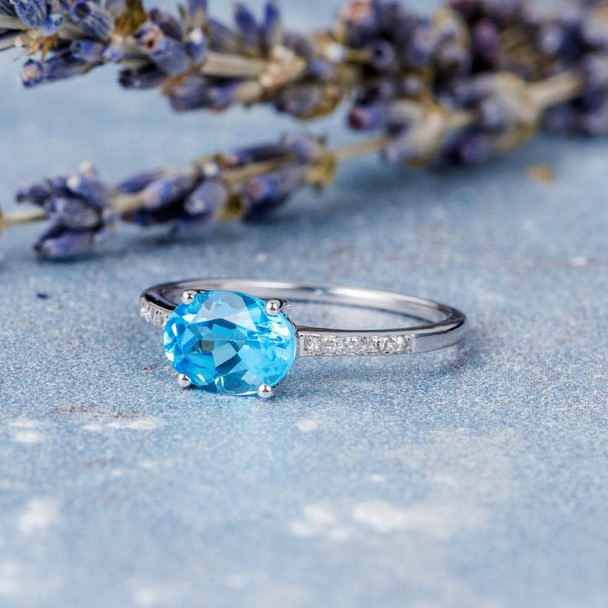 Horizontally Set  Blue Topaz Diamond  Engagement Ring