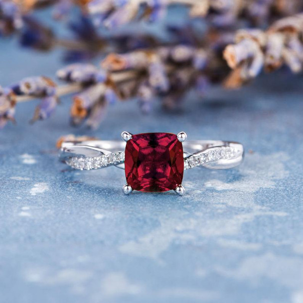 6mm Cushion Cut Lab Solitaire Ruby Engagement Ring