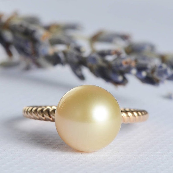 Pearl Engagement Ring Solitaire Simple Minimalist  Twist Wedding Ring