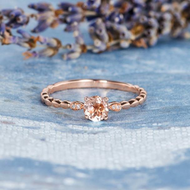 5mm Morganite Ring Rose Gold Antique Leaf Band Birthday Gift