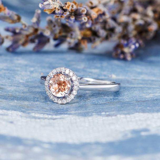 Morganite Engagement Ring Diamond Halo White Gold Plain Band
