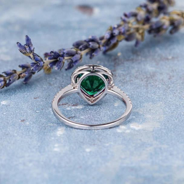 8*9mm Pear Shaped Engagement Ring Lab Emerald White Gold