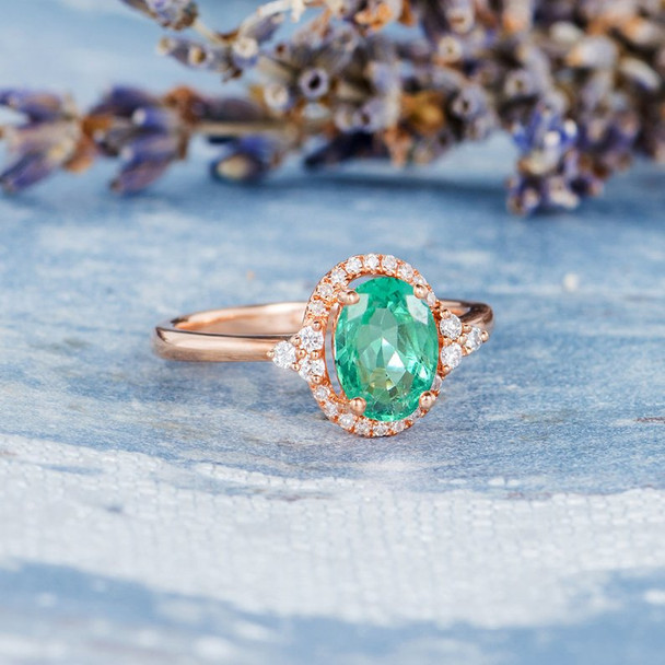 Emerald Ring Antique Engagement Ring Rose Gold Diamond Halo Plain Band