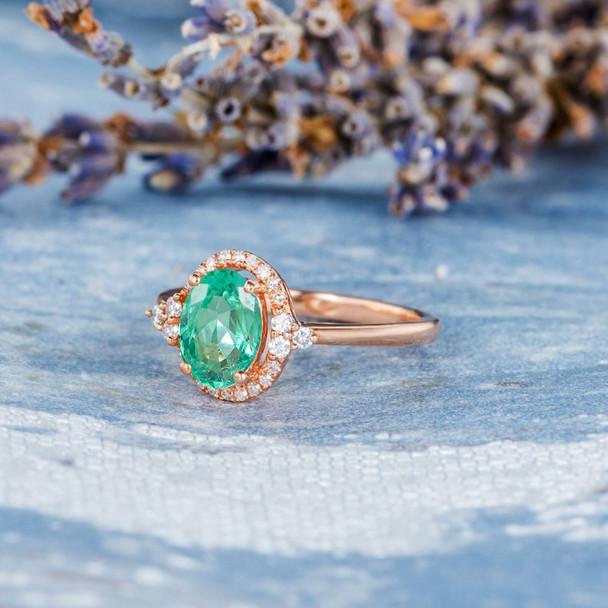 Emerald Ring Antique Engagement Ring Rose Gold Diamond Halo Plain Band