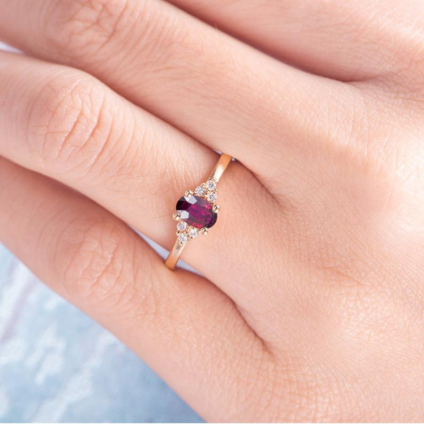 Natural Ruby Engagement Ring Rose Gold Diamond Cluster Ring