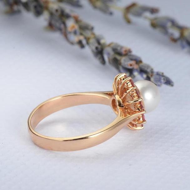 Pearl Engagement Ring Rose Gold Wedding Halo Pink Tourmaline