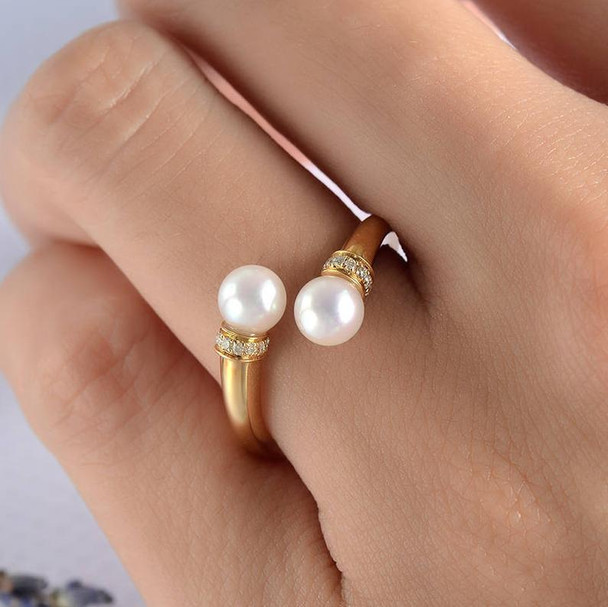 Pearl Cuff Engagement Ring Open Ring Gold Unique Diamond Band