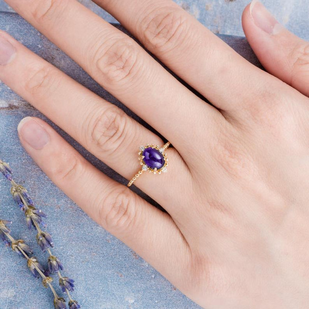 Unique Purple Cabochon Amethyst Engagement Ring February Birthstone Ring