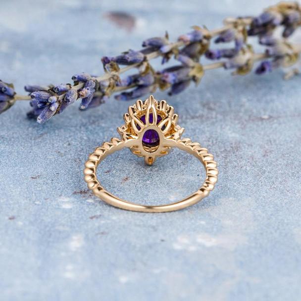 Unique Purple Cabochon Amethyst Engagement Ring February Birthstone Ring