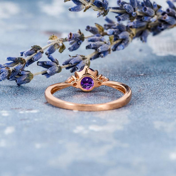 5mm Solitaire Amethyst Three Stones Engagement Ring Rose Gold
